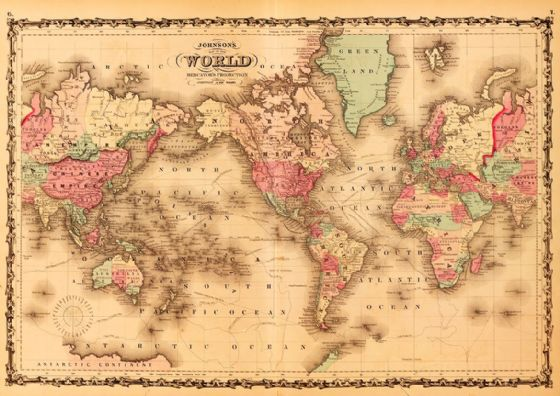 Johnsons World Map 1862 Antique Print/Poster (5375)